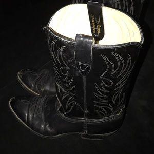 Vintage TEXAS Men's Cowboy Boots Size 10KD Black